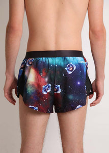 "ChicknLegs men's SpaceCats 2"" split running shorts rear view."