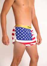 "ChicknLegs men's USA 2"" split running shorts side view showcasing our mesh paneling on the side splits."