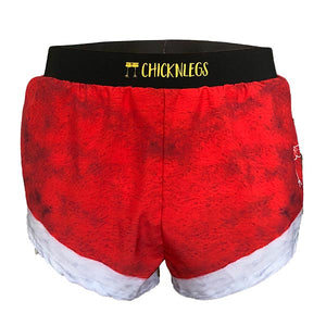"chicknlegs santa shorts men's 2"" split running shorts ghost image."