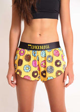 "ChicknLegs women's donuts 1.5"" split running shorts front view closeup."