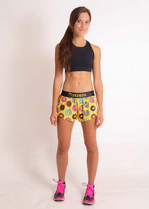 "ChicknLegs women's donuts 1.5"" split running shorts full body view."