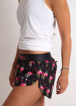 "ChicknLegs women's flamingo 1.5"" split running shorts."
