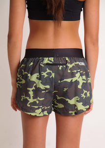 "ChicknLegs women's green camo 1.5"" split running shorts rear view including our zipper pocket to stash the essentials."