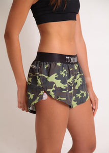 "ChicknLegs women's green camo 1.5"" split running shorts side view."
