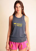 chicknlegs grey women's racing singlet with logo front view.