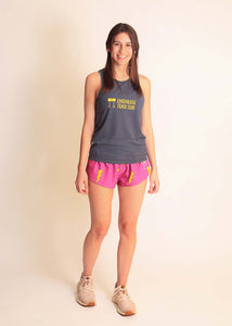 chicknlegs grey women's racing singlet full body view.