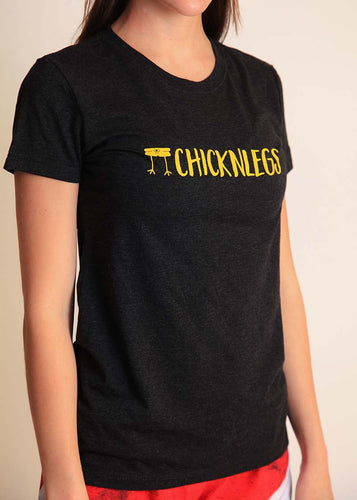 chicknlegs women's heather grey performance logo tee front view.