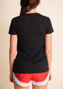 chicknlegs women's heather grey performance logo tee rear view.