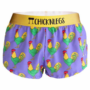 "chicknlegs roosters women's 1.5"" split running shorts ghost image."