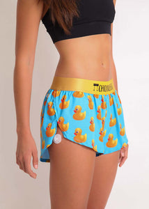 "ChicknLegs women's rubber ducky 1.5"" split running shorts side view."