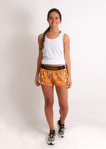 "ChicknLegs women's snail's pace 1.5"" split running shorts full body view."