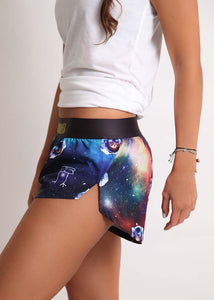 "ChicknLegs women's SpaceCats 1.5"" split running shorts side view showcasing our logo."