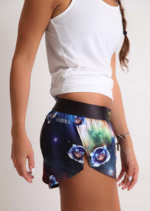 "ChicknLegs women's SpaceCats 1.5"" split running shorts side view."