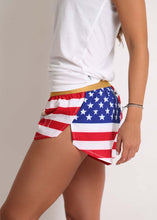 "ChicknLegs women's USA 1.5"" split running shorts side view of our logo."