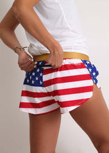 "ChicknLegs women's USA 1.5"" split running shorts rear view showing the functionality of the zipper pocket."