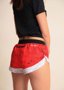 "chicknlegs santa shorts women's 1.5"" split running shorts side rear view."