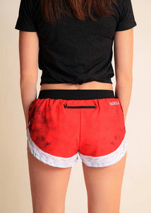 "chicknlegs santa shorts women's 1.5"" split running shorts rear view."