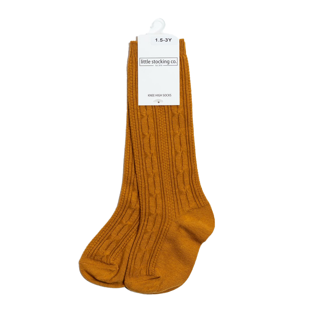 Butterscotch Cable Knit Knee High Socks