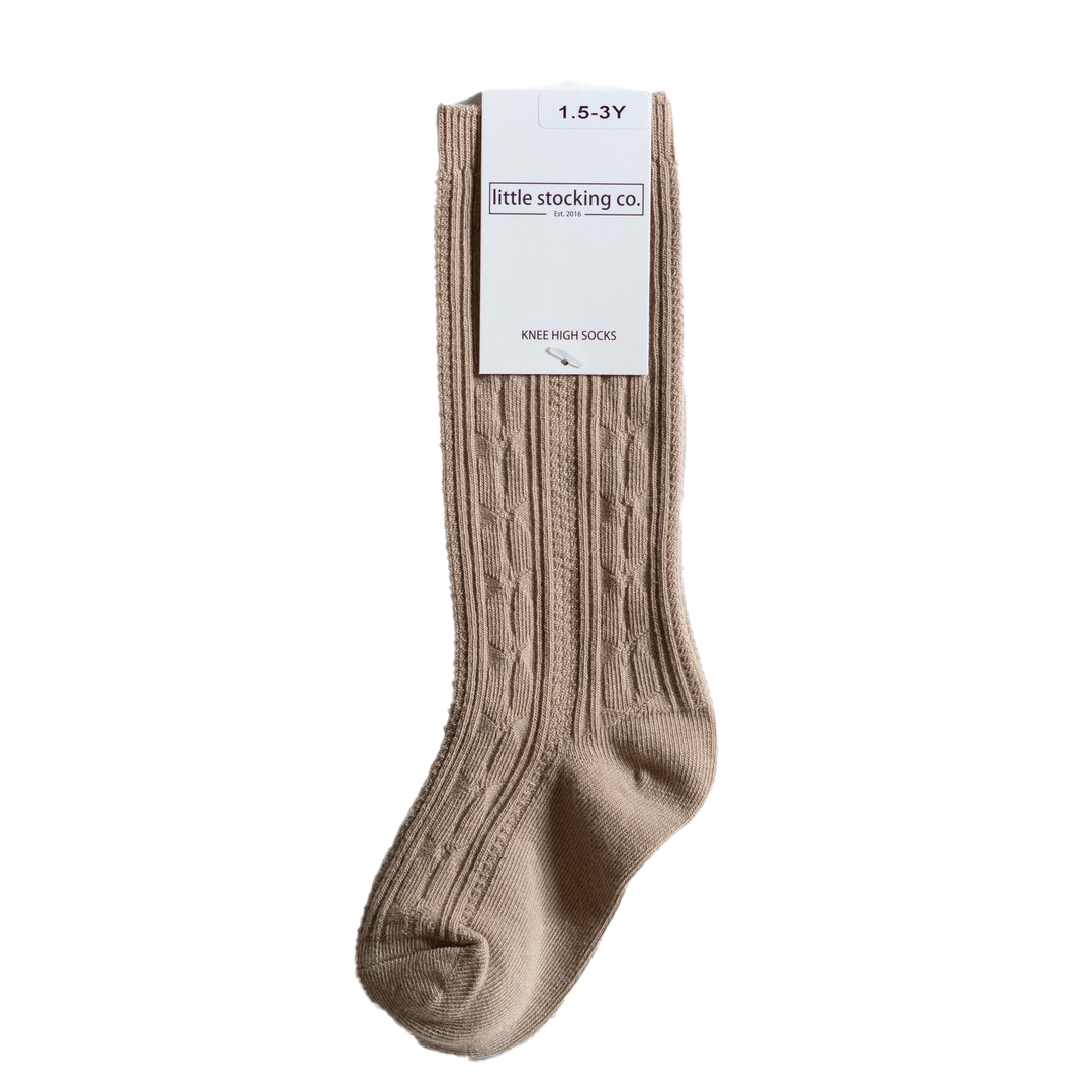 Oat Cable Knit Knee High Socks