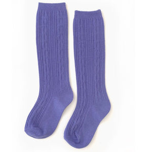 Periwinkle Cable Knit Knee High Socks