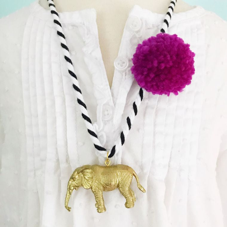 Elephant Pom Necklace