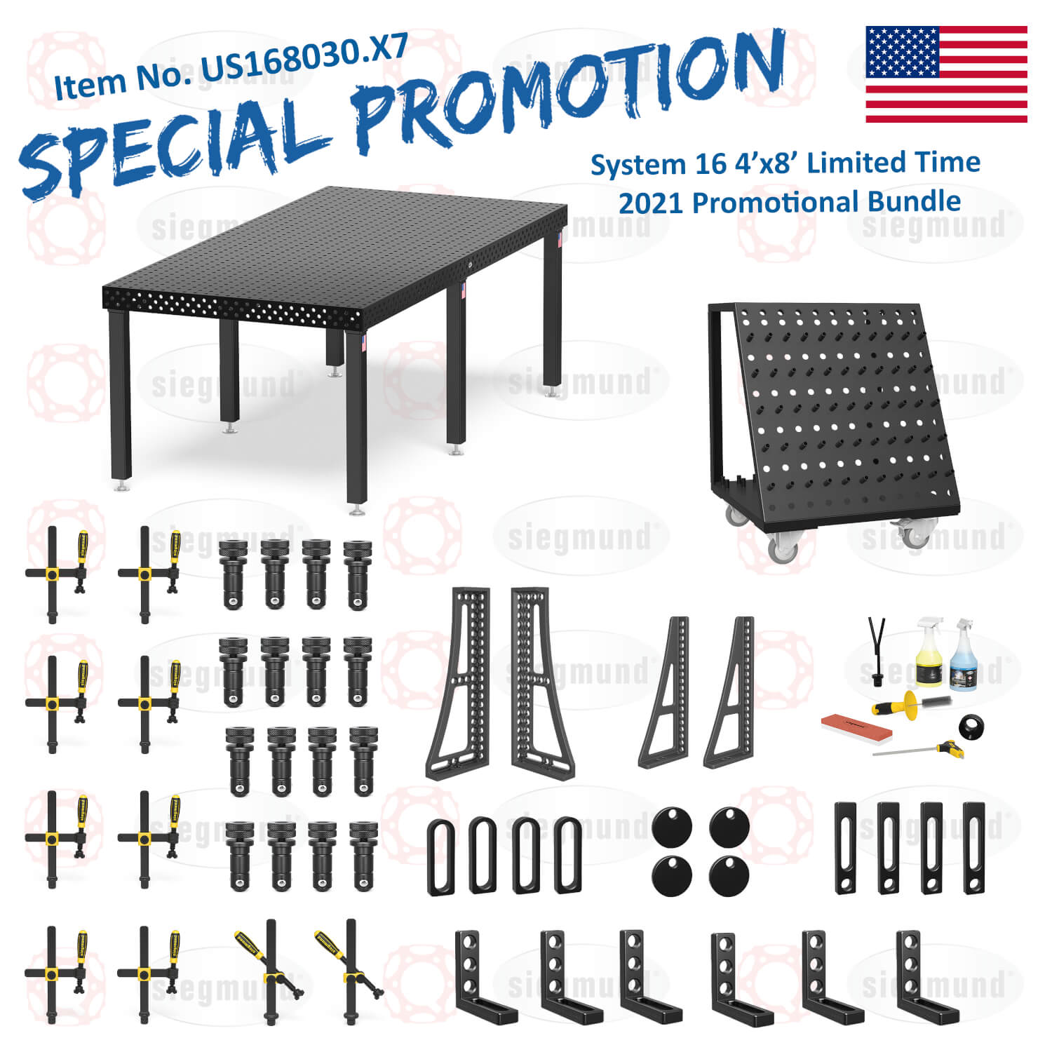 US168030.X7: System 16 4'x8' Imperial Series (Inch) Welding Table Bundle (2021 SPECIAL PROMOTION)