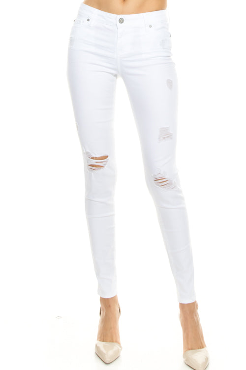 White Mid Rise Distressed Jeans