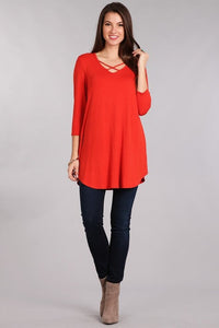 Red 3/4 Sleeve Cross Front Shirt