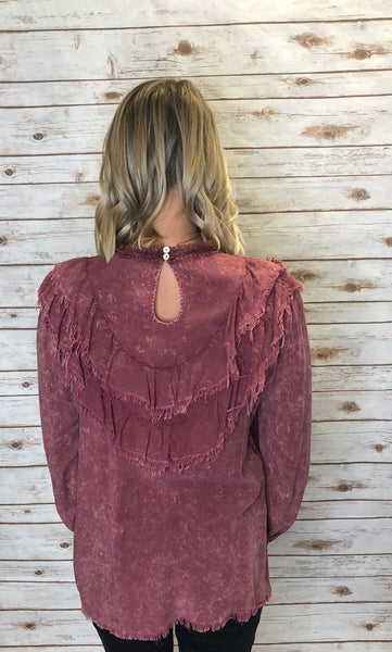 163 Marsala Garment Dyed Layered Ruffle Top