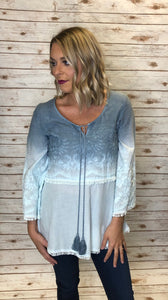 Blue Ombre Embroidered Top