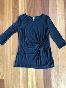 Charcoal 3/4 Sleeve Pleated Detail Tunic
