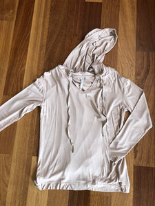 7 Beige Long Sleeve Hooded Top