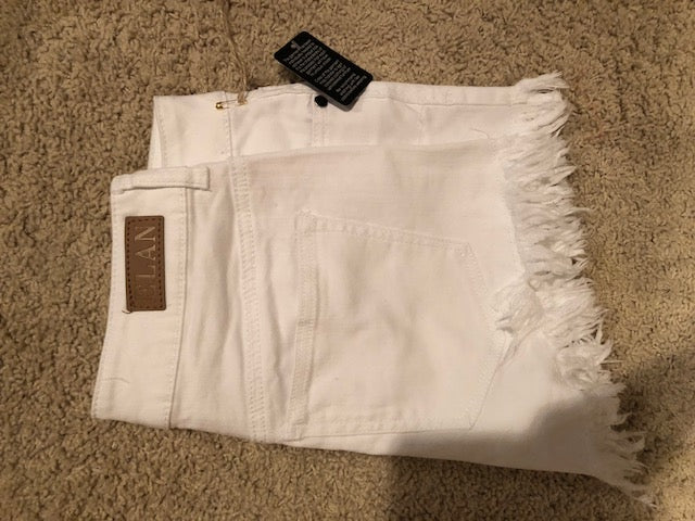 EL White Fray Shorts