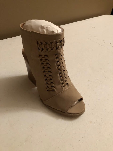 Taupe Distress Peep Toe Bootie
