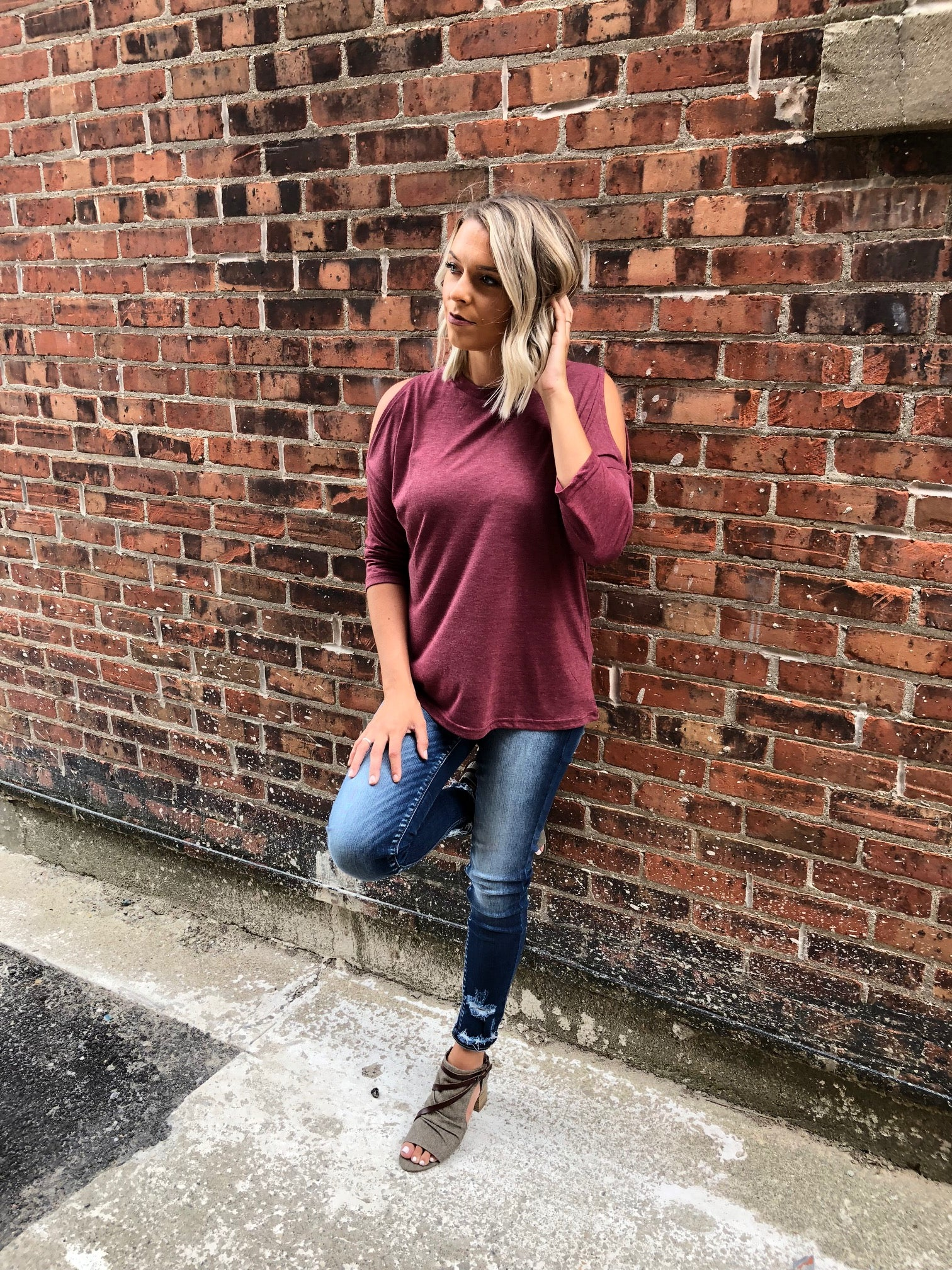 158 Wine Cold Shoulder Mid Sleeves Shirt