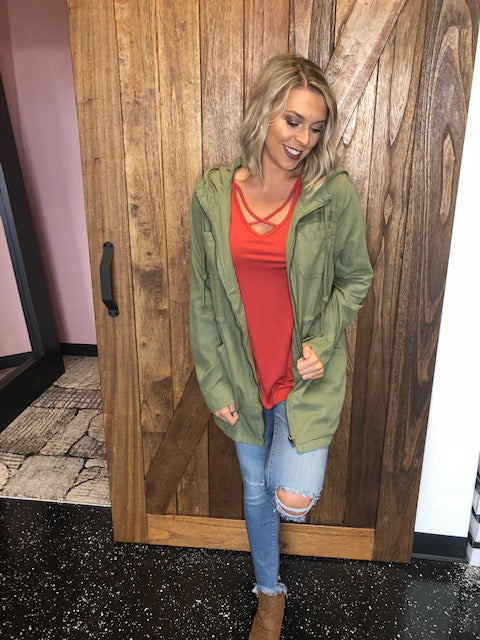 251 Olive Hooded Anorak