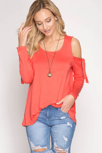Coral Long Sleeve Cold Shoulder W/ Sleeve Ties Top