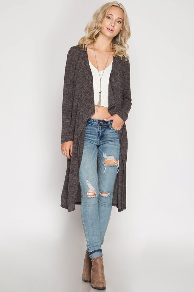 Black Long Sleeve Open Cardigan