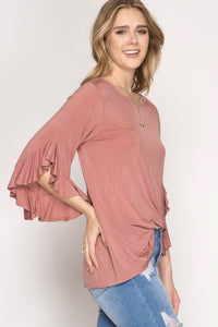 Dusty Rose 3/4 Bell Sleeve W/ CrissCross Back Shirt