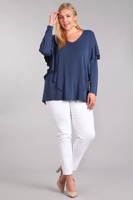 Navy Ruffle Long Sleeve Shirt P