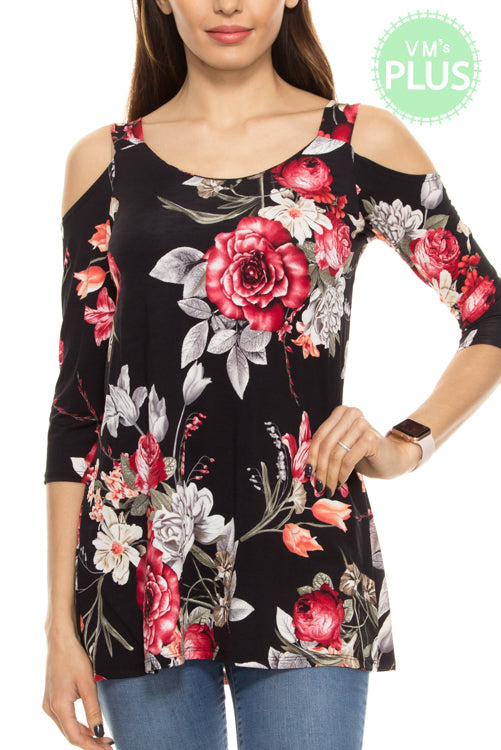 Black Floral Cold Shoulder Top