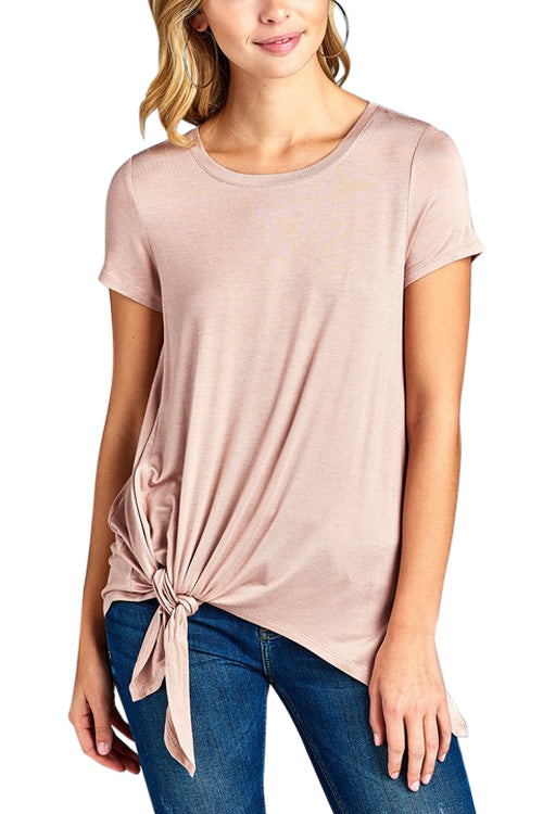 Peach Short Sleeve W/ Side Knot Shirt