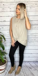 Taupe Sleeveless Front Twist Top