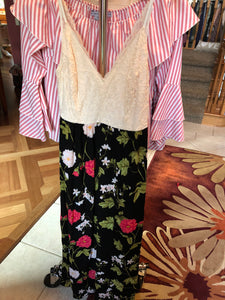 Black Floral Cream Top Thin Strap Long Dress