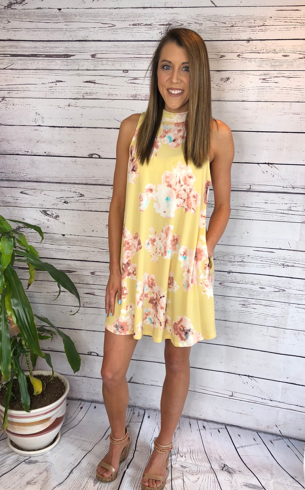 Mustard Floral Sleeveless Dress