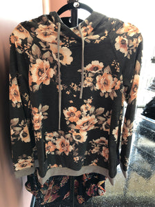 178 Charcoal Floral Hooded Top