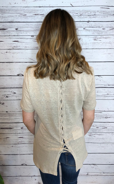 8 Beige Short Sleeve Chocker Top W/ Back Lace Up Detail