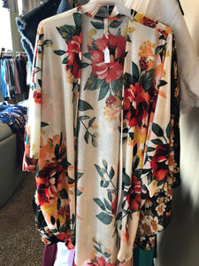 Ivory Floral Open Cardigan