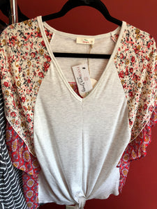 150 Mixed Fabric V Neck Top