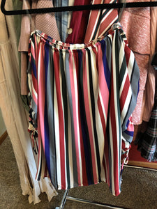 166 Vertical Stripe Off Shoulder Top